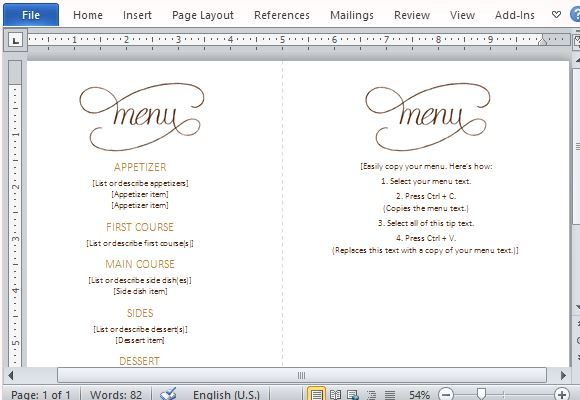 free menu templates for word anuvratinfo – Restaurant Menu Templates Word
