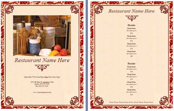 Free Menu Template free menu template sample restaurant menu and – Free Restaurant Menu Template Word