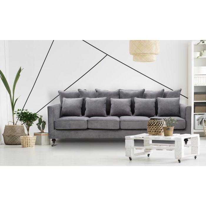olsen 4 sitzer sofa mit samtbezug dunkelgrau