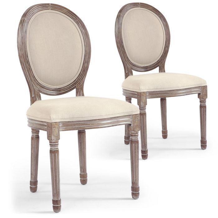 lot de 20 chaises medaillon louis xvi tissu beige