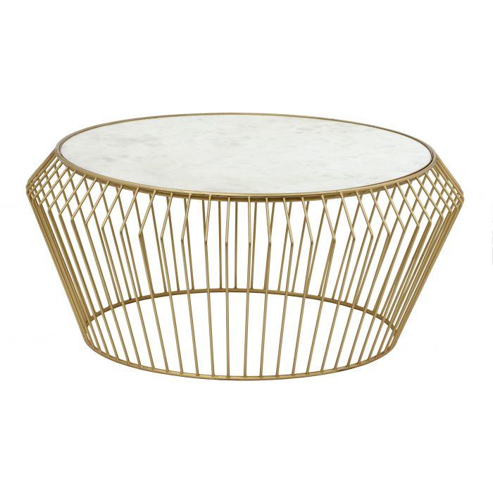 table basse salini en marbre blanc et pieds or