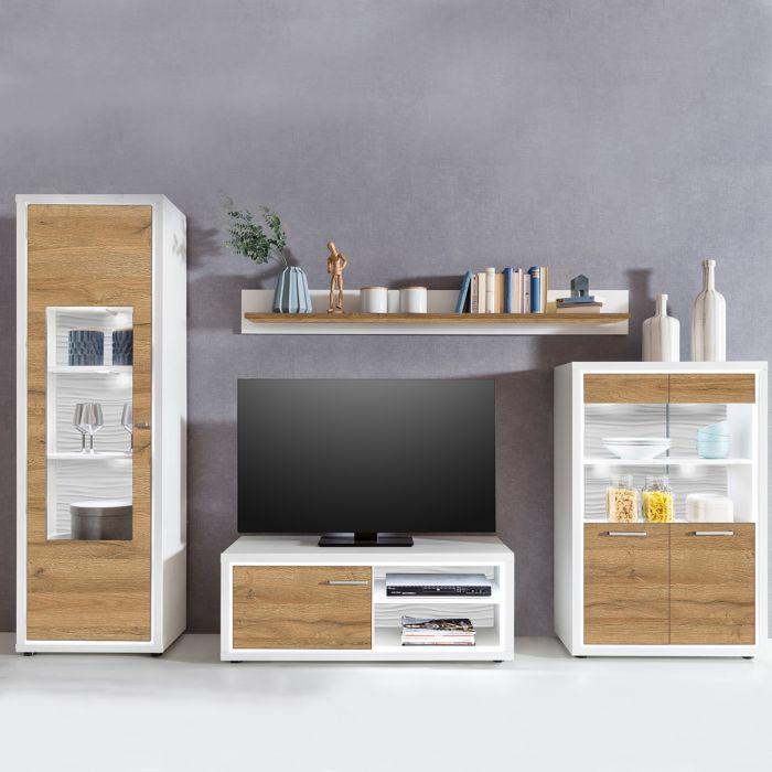 ensemble meuble tv saragosse bois chene clair et blanc lumiere incluse