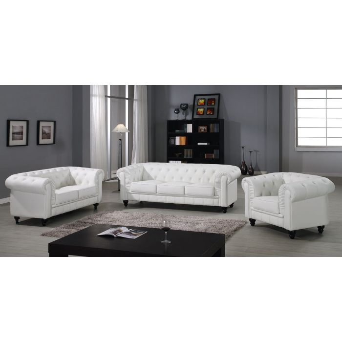 grand canape 3 places chesterfield blanc