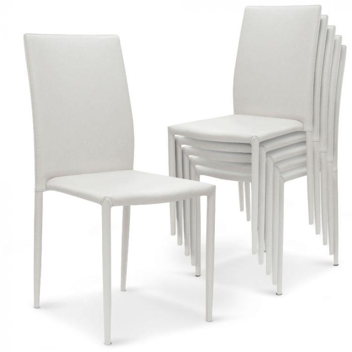 lot de 6 chaises empilables modan simili p u blanc