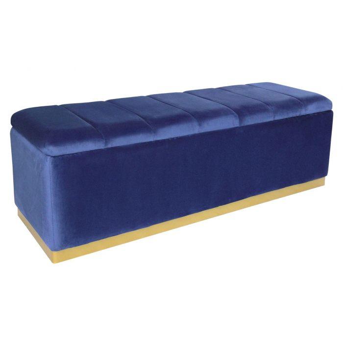 banc coffre alexandrie velours bleu pied or