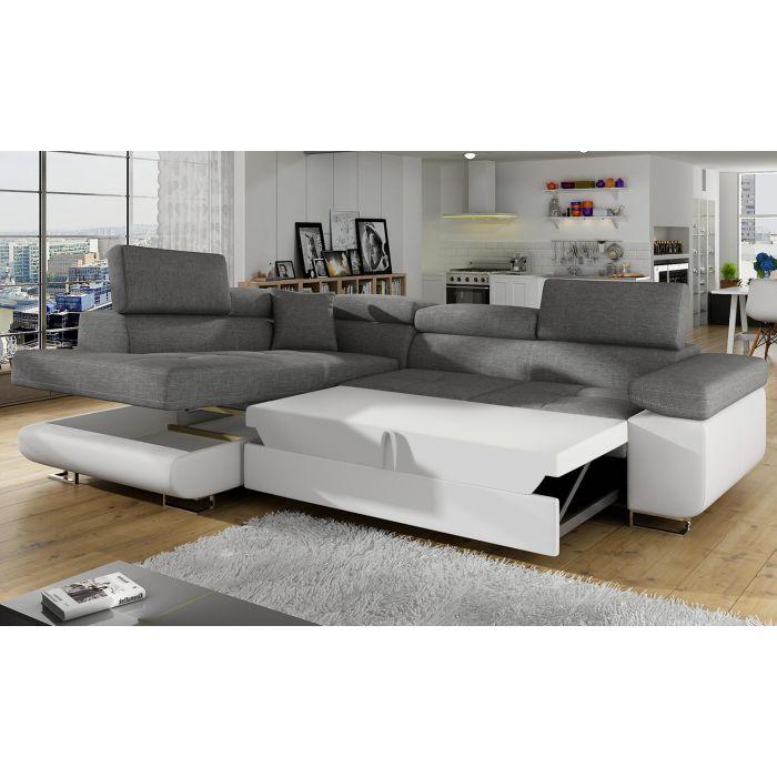 canape d angle convertible antoni avec tetieres relevables angle gauche simili blanc et tissus gris clair