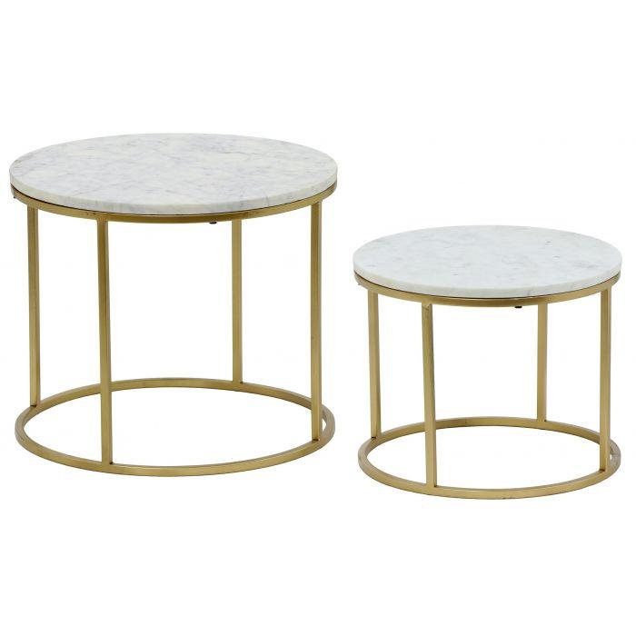ensemble de 2 tables basses artik marbre et metal or