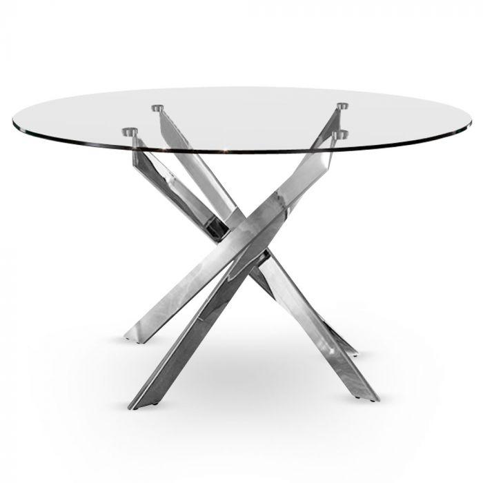Table Ronde En Verre Transparent Et Pieds En Metal Chrome Croisade Chrome
