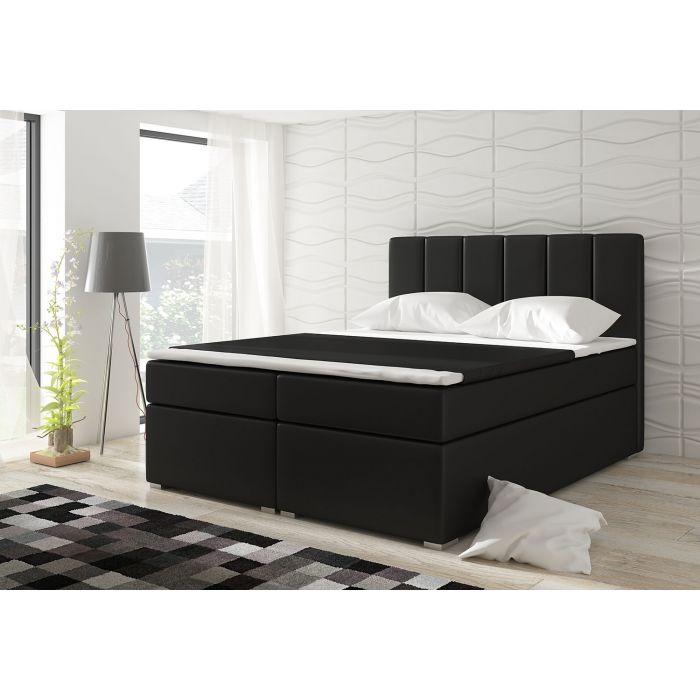 lit coffre avec matelas et sur matelas balero 160cm simili noir