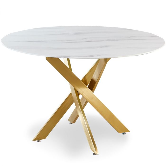 table ronde en verre effet marbre corix pieds or
