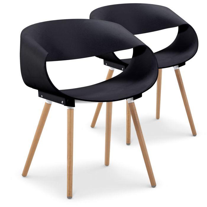 lot de 2 chaises scandinaves design zenata noir