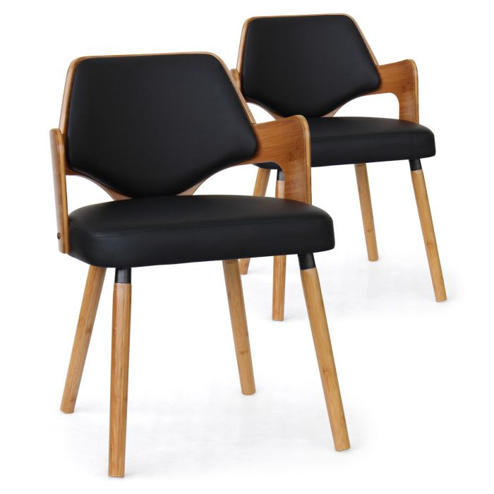 lot de 2 chaises scandinaves dima bois naturel et noir