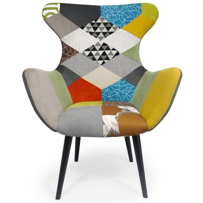fauteuil geo tissu patchwork