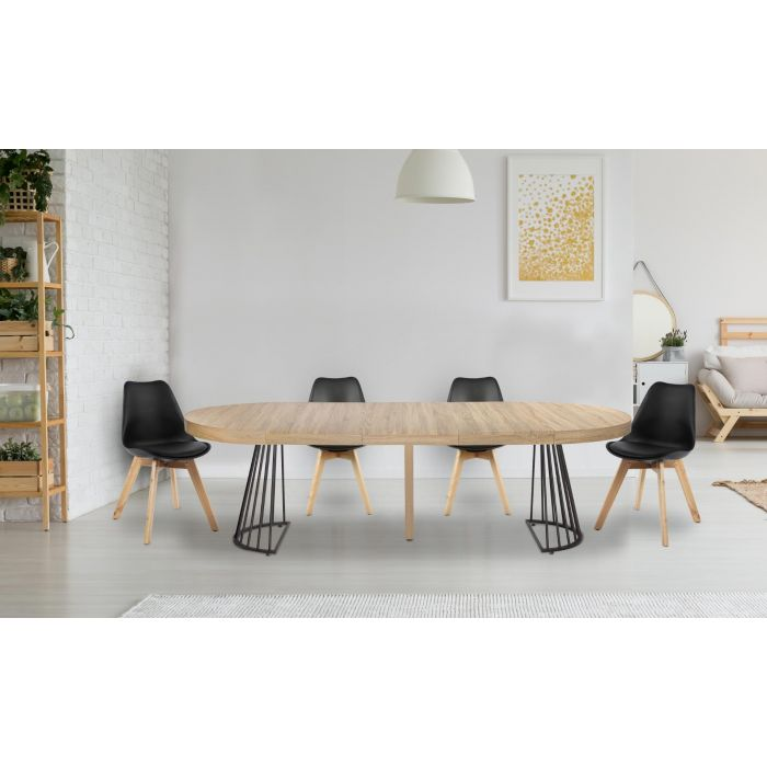 table ronde extensible grivery chene clair pieds noir