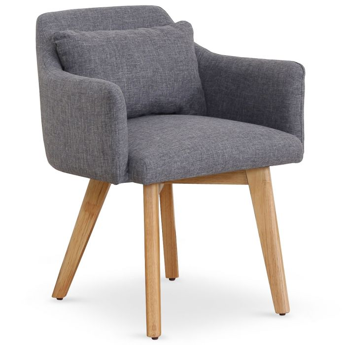 chaise fauteuil scandinave gybson tissu gris clair