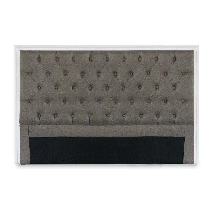tete de lit hermione 160cm bois blanc et tissu taupe