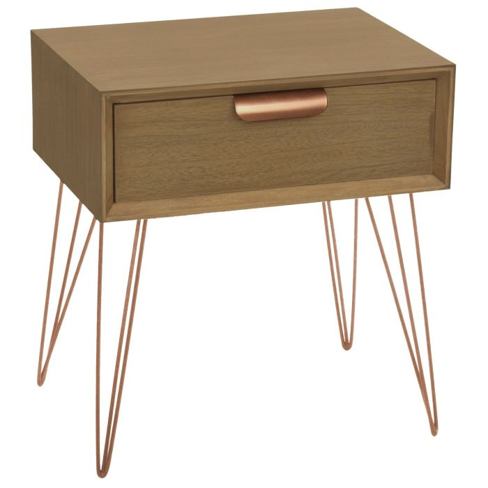 table de chevet 1 tiroir joraz bois et metal or rose