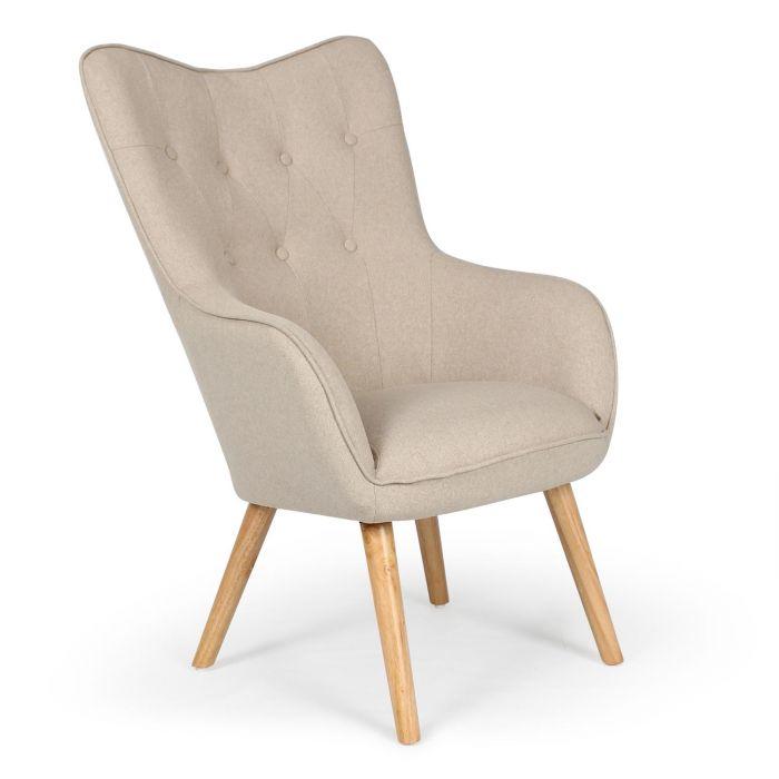 fauteuil scandinave klarys tissu beige