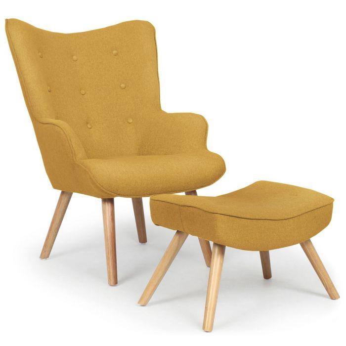 fauteuil scandinave pouf lylou tissu jaune