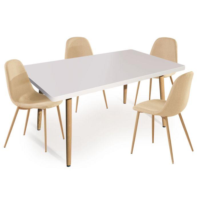 table rectangulaire scandinave nora blanc lot de 4 chaises scandinaves gao tissu beige