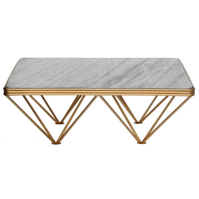 table basse paula marbre blanc et pieds metal or