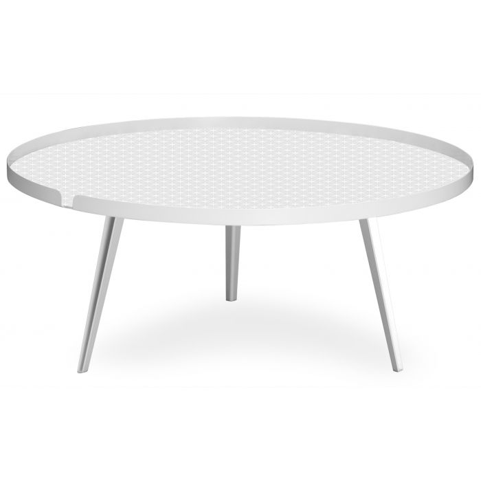 table basse magnetique ronde a rebord 90cm bipolart metal blanc avec 2 tops style scandinave