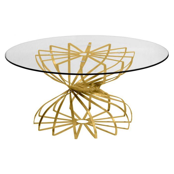 table basse ronde tornado or et verre transparent