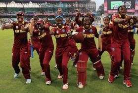 KOLKATA, INDIA - APRIL 03: West Indies celebrate their teams win over Australia during the Women's ICC World Twenty20 India 2016 Final between Australia and West Indies at Eden Gardens on April 3, 2016 in Kolkata, India. (Photo by Matthew Lewis-IDI/IDI via Getty Images)