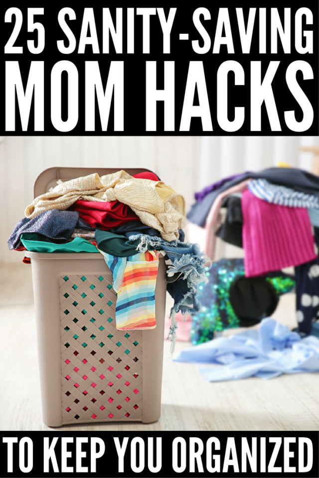 25 sanity-saving mom hacks | These lifehacks will add mega organization to your life in recording-breaking time! Whether you're a working and stay at home mom, have a baby, twin toddlers, or school-aged kids, being a mom is BUSY and these organization ideas will help keep you sane!