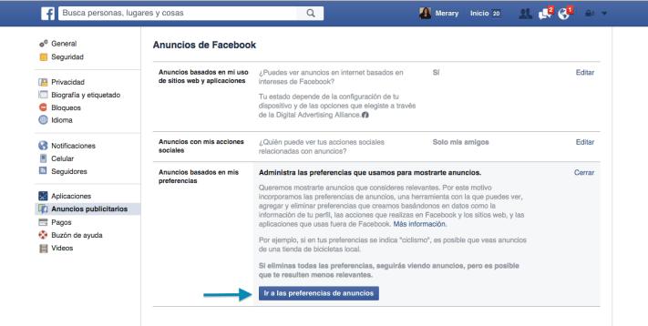 Anuncios: Cómo cambiar las preferencias de Anuncios en Facebook