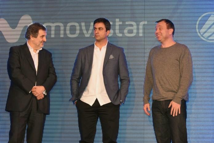 De izquierda a derecha: el presidente de Telefónica España, Luis Miguel Gilpérez, el managing director de ESL España, Manuel Moreno y Ralf Reichter, CEO de ESL.