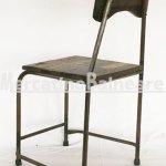 Sedia in metallo e legno Teak di recupero