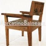 Sedia con braccioli in legno Teak di recupero