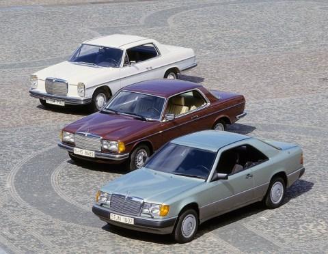 """Sportlich-elegante Zweitürer mit großem Flair - Die Mercedes-Benz E-Klasse Coupés und Cabriolets Foto (v.l.n.r.): """"Strich-Acht""""-Coupé der Baureihe 114, Coupé der Baureihe 123 und Coupé der Baureihe 124 (ab 1993 E-Klasse Coupé)"""