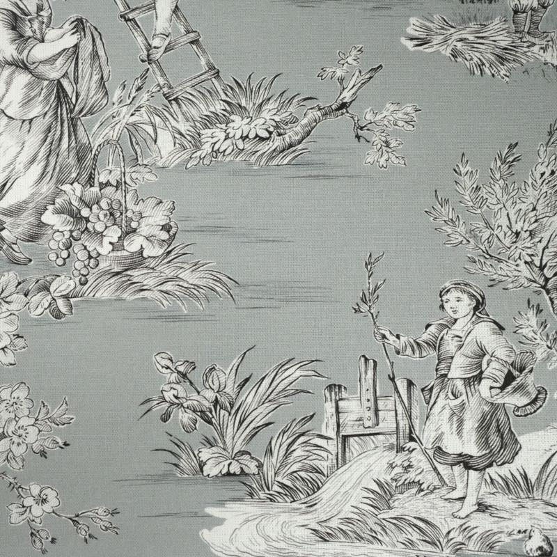 tissu toile de jouy gris tissus d ameublement mercerine