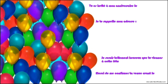 carton d invitation d anniversaire a