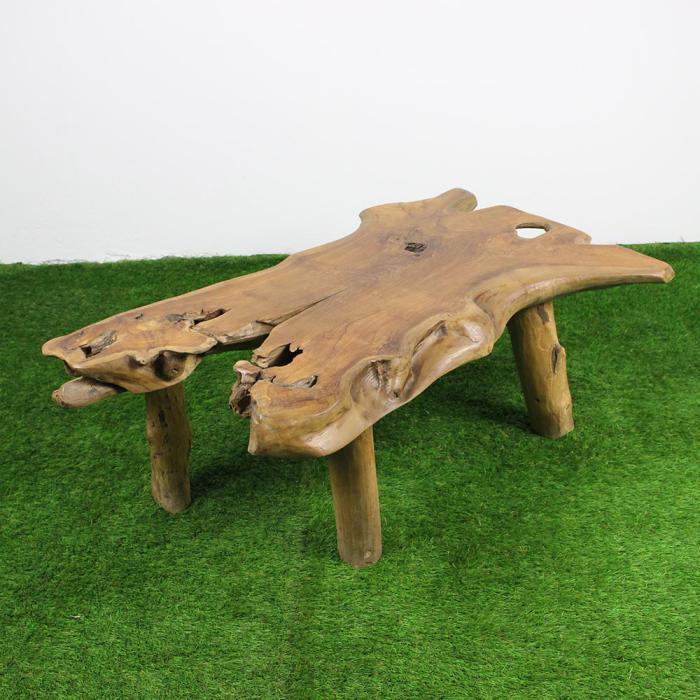 table basse racine souche de teck brut