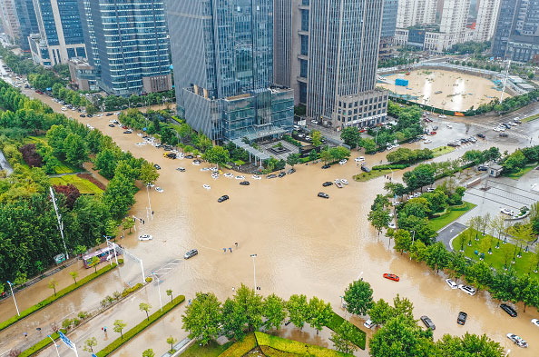 An aerial view of the flood in China