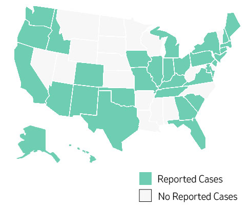 US map of reported cases