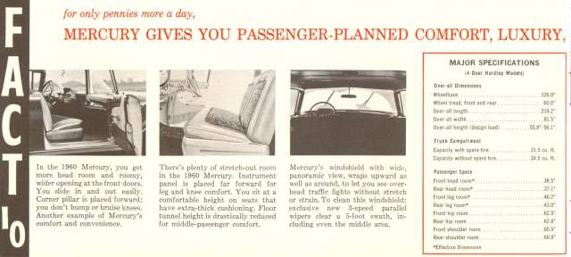 1960 Mercury Fact Booklet Page 12