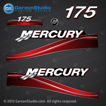 Mercury 175 Hp Decal Set Red Decals