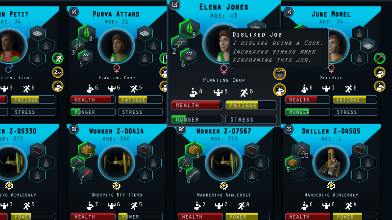 Quirks now visible on colonist management screen