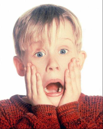 "Macaulay Culkin --- ""HOME ALONE"" --- Macaulay Culkin (""My Girl""), Joe Pesci (""My Cousin Vinny""). It's three days before Christmas, and young Kevin (Culkin) is accidentally left behind when his family departs for a holiday trip. He soon has to defend himself and his home singlehandedly when two men try to burglarize his house."