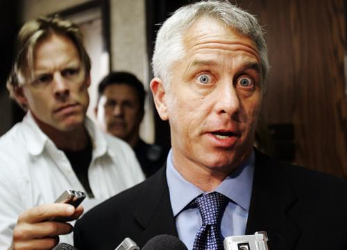 Greg LeMond, right, three-time Tour de France winner, speaks to the news media after testifying against fellow cyclist Floyd Landis during the arbitration hearing on the doping allegations against the 2006 the Tour de France champion at Pepperdine University in Malibu, Calif., Thursday, May 17, 2007. (AP Photo/Kevork Djansezian)