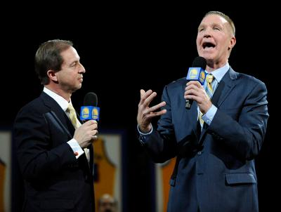 Former Golden State Warriors player Chris Mullin speaks to audience after fans booed Warriors team owner Joe Lacob as he spoke during a Jersey Retirement Ceremony during halftime of the Warriors vs. Minnesota Timberwolves game at Oracle Arena in Oakland, Calif. on Monday, March 19, 2012. After Mullin spoke Lacob would be continually booed until former Warriors player Rick Barry spoke and asked the audience to show respect. (Jose Carlos Fajardo/Staff)