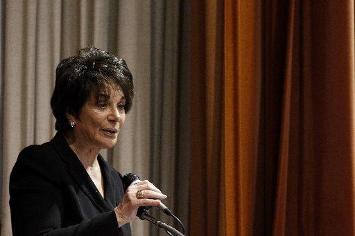 Congresswoman Anna Eshoo speaks to crowd at San Jose Buddhist Church Betsuin in San Jose, Calif., on Thursday, Feb. 23, 2012. (Josie Lepe/Staff Archives)
