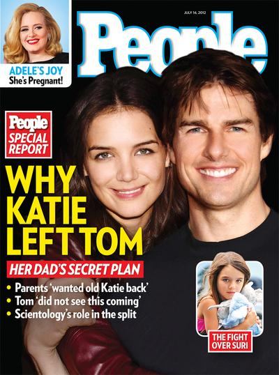"""This image released by People shows the July 16, 2012 cover of """"People"""" magazine featuring the divorce of actors Katie Holmes and Tom Cruise. Holmes filed for divorce from Cruise on Thursday, June 28. The couple, who married in 2006, share a daughter Suri. Cruise has two children with his previous wife, Nicole Kidman. The actor was also previously married Mimi Rogers. This is Holmes' first marriage. The issue is available on newsstands. (AP Photo/People)"""