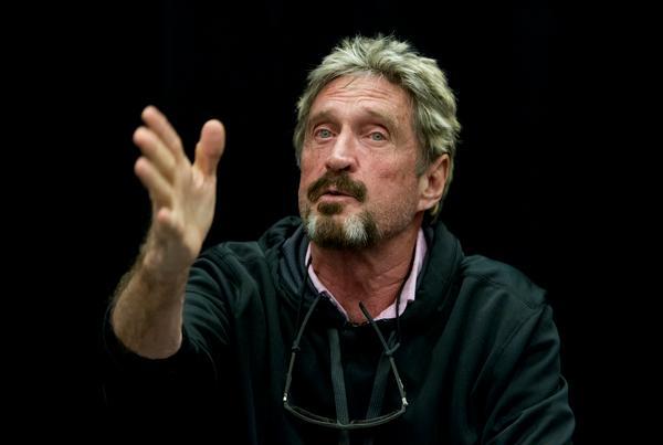 """John McAfee speaks at the """"Fireside Chat with John McAfee"""" talk during the C2SV Technology Conference + Music Festival at the McEnery Convention Center in San Jose, Calif., on Saturday, Sept. 28, 2013. (LiPo Ching/Bay Area News Group)"""