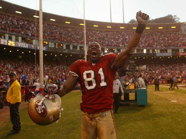 San Francisco 49ers Terrell Owens, #81, celebrates after the 49ers win against the New York Giants at the end of the game in San Francisco on Sunday, January 5, 2003. The 49ers won 39-38. (SAN JOSE MERCURY NEWS / Nhat V. Meyer)