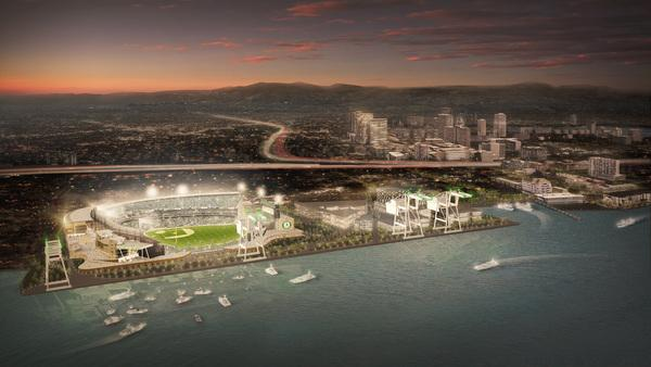 A rendering shows a proposed baseball stadium for the Oakland Athletics at the Howard Terminal in Oakland, Calif. (MANICA Architecture)